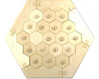 Settlers of Catan Game Board Laser Cut Wood Unfinished