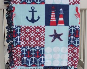 Nautical Theme Tied Fleece Throw lap blanket toddler blanket Adult Lap blanket Toddler Gift Tied Edges Fleece