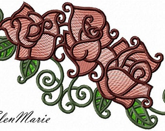 Fl 008 Roses 5*7, 6*8 - Machine Embroidery Design