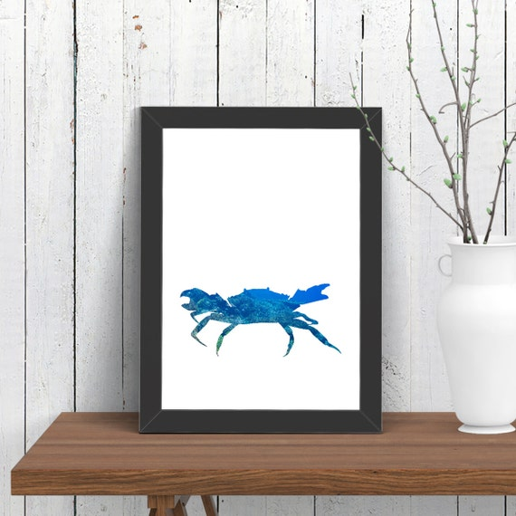 Small Nautical Wall Decor : Small crab print wall art animal room decor nautical