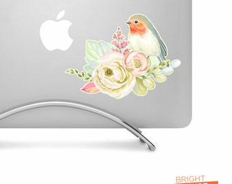 Watercolor Flowers and Bird - Printed Vinyl Decal - Perfect For laptops, tablets, cars, trucks, SUVs and more!