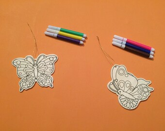 DIY Wooden Butterfly Coloring Kit (2 butterfly kits/order) Garden Party - Butterfly Favor - Butterfly Craft - Secret Garden - Spring