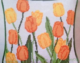 "Rare 1975 TULIPS Needlepoint Kit - CARON Kit 4602 14""x14"" - Field of Tulips, Flowers, Bright, Citrus Like Colors, Garden"