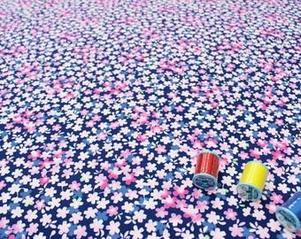 Japanese fabric Sakura Navy Blue, Pink