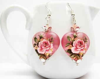 Frosted Pink Heart Earrings - Pink Rose Earrings - Pink Jewelry - Japanese Flower Earrings - Rose Jewelry - Romantic Earrings - Gift - T-03