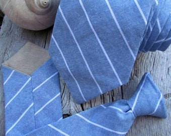 Wedding Tie Family - Father and Son Matching Tie Set - Chambray Blue Stripe - Baby Neck Tie - Toddler Neck Tie - Boys Neck Tie