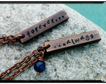 """Couples Necklace - Aged Copper Bar//Hand Stamped//Always/Forever - Names//Initials//Customize - 1.25"""" Vertical Bar//Blue Solidite- His & Her"""