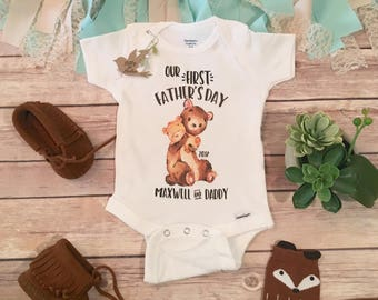 Fathers Day Gift from Baby, Our First Fathers Day Onesie®, Happy Father's Day Onesie, Bear Onesie, Fathers Day Baby Outfit, Dad Onesie, 1st