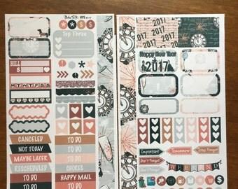 New Year's Eve 2017 Medium Personal MM Stickers Louis Vuitton Mambi Inkwell Press Filofax Kikki K Happy Life Planner LV Holiday Glam