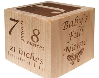 Personalized Baby Block Newborn Birthday Baptism Gift Custom Engraved Wooden Block Custom New Baby Gift !