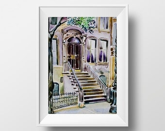 Wall Art Watercolor Carrie Bradshaw House Print,Sex and the City,Carrie Bradshaw Apartment,Tv Show Poster,Carrie Bradshaw Printable