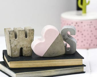 Beton - Concrete decor-initialen - geschenk voor Her-betonnen letters - kerstcadeau - Anniversary Gift - Letters
