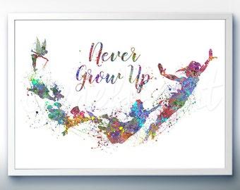 Disney Peter Pan Never Grow Up Watercolor Poster Print - Watercolor Painting - Watercolor Art - Kids Decor- Nursery Decor