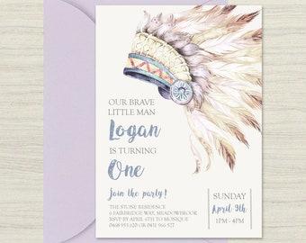 Birthday invitation, tribal invitation, custom invitation, printable, Boho, headdress, birthday boy, blue, chief, native, feathers, indian