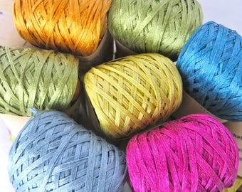 Silk Gima Root Sizing / Silk Tape Yarn / Silk Thread / Warp Yarn / Textile Art Material / Luxury Yarn / Knitting / Crochet / Habu N6B