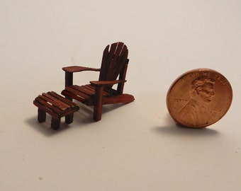 Miniature Quarter (1:48) Scale Adirondack Chair and Footstool Kit