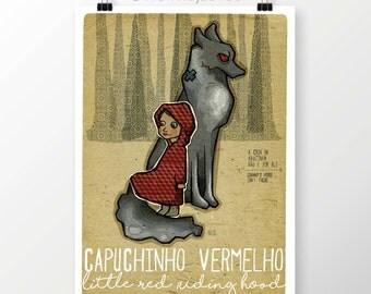 Original STORYTALES jack Red Riding Hood Wall Art Printing Poster Illustration Print Drawings Graphic Design Art Work Home Decor