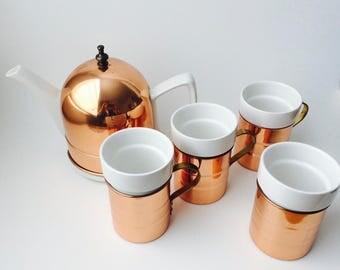Baker, Hart & Stuart Copper Tea Set/Copper Tea Set/Copper Mugs/Copper Kitchen/Copper/Set of 4 Copper Mugs With Teapot/Insulated Teapot
