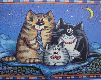 """Family""-cat greeting cards cards-hand painted cards-handmade-limited edition prints-greeting cards-blanc inside"