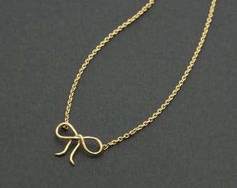 Golden Bow Necklace / ribbon necklace, handmade tiny bow, minimalist necklace, wire ribbon, wire jewelry / N0-90