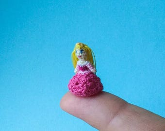 Micro amigurumi doll Disney Princess Aurora from The Sleeping Beauty. Tiny crochet doll Aurora.  Disney Princess crochet miniature doll