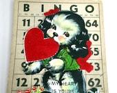All Original School Valentine Collage Art on Bingo Card, Children