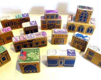 Vintage Wood Blocks, Lot of 14 Vintage Children's Wood Blocks Embellished with Vintage Postage Stamps
