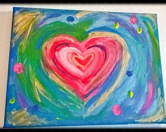 "READY TO SHIP Heart painting "" You color my life"", Rainbow Heart, Rainbow Art, Love, Abstract heart, acrylic painted heart, Valentine's gift"