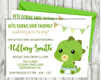 Dinosaur Baby Shower Invitation, Dino Invitation Baby Boy Shower, Baby  Shower Invitation, Baby