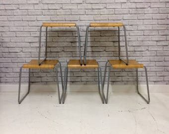 Vintage Children's Industrial Style Stacking School Stool