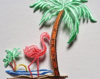 Flamingo with palm tree iron on patch applique