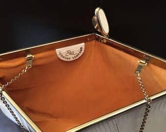 1960s Etna White Leather Shoulder Bag, Vintage White Genuine Leather US Purse