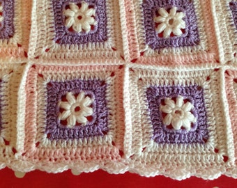 Crochet blanket - Baby blanket - Pink, White & Purple - Squared Afghan Granny Square