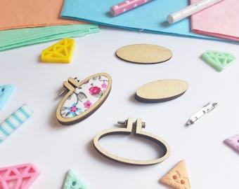 Mini Embroidery Hoop - W/ Brooch 45mm x 20mm Tiny Hoop - Mini Embroidery Frames -Miniature Hoops - Tiny Wooden Hoops - DIY kit