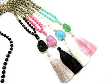 Druzy long beaded tassel necklace, bohemian necklace, colorful gemstone necklace, druzy agate necklace, boho necklace, pendant necklace