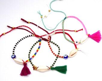 Evil eye bracelet, sea shell bracelet , multicolored bracelet, ethnic tribal beaded bracelet, bohemian tassel bracelet, evil eye jewelry