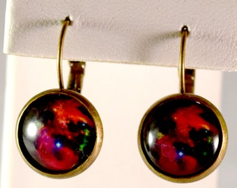 Galaxy Earrings - Red Nebula - Geeky Jewelry - Geeky Earrings - Space - Science - Astronomy - Cabochon - Lever Back - Gifts for Her