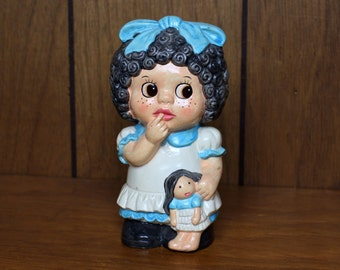 Vintage Curly Haired Girl Bank