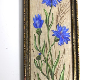 Antique Painting of Flowers on Fabric