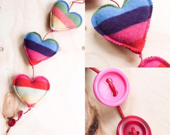 Pride Hearts, Hanging Hearts, Felted Heart Decoration, Plush Wall Hanging