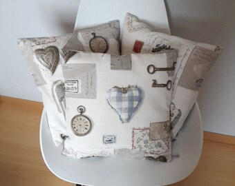 Cushion cover shabby chic style in shades of beige, Taupe and light blue