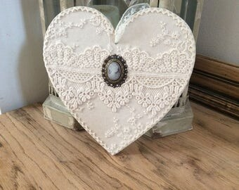 Lace hanging heart, wooden heart, lace decoration, victorian wedding decoration, vintage bedroom decoration, vintage wedding present
