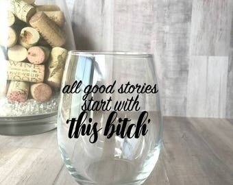 This Bitch, Best Friend Wine Glasses, Best Friend Gift, Best Friends, Stemless wine glass, Best Bitches Glass, Gift for Her