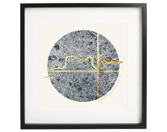 Framed Custom Circular London Coordinates Map - Gold Foil