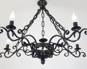 Pendant elegant chandelier forged metal rustic elegant lamp restaurant