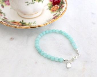 Something Blue Amazonite Wedding Bracelet - Gift for Bride, Blue Bracelet, Amazonite Beads, Blue Amazonite, Wedding Gift, Bridal Shower