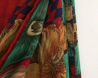 Free Shipping Vintage Floral Design Printed  Fabric Decorative Curtain Drape Indian Women Saree VKEA134