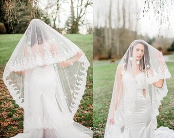 Waltz Veil With Blusher #75 , Waltz Wedding Veil, Lace Wedding Veil, Wedding Veil , Bridal Veil, Custom Wedding Veil