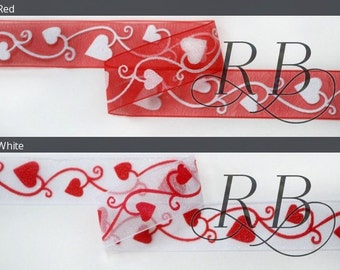 Ribbon Bazaar Sheer Valentine Hearts and Vines 7/8 inch 20 yards Ribbon