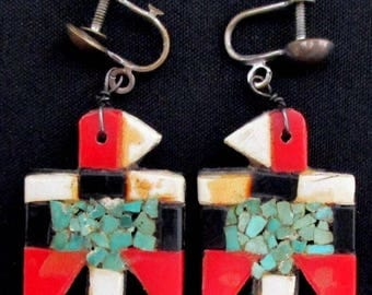 Vintage Santo Domingo Earrings BATTERY BIRD Screw Back THUNDERBIRD *TB395